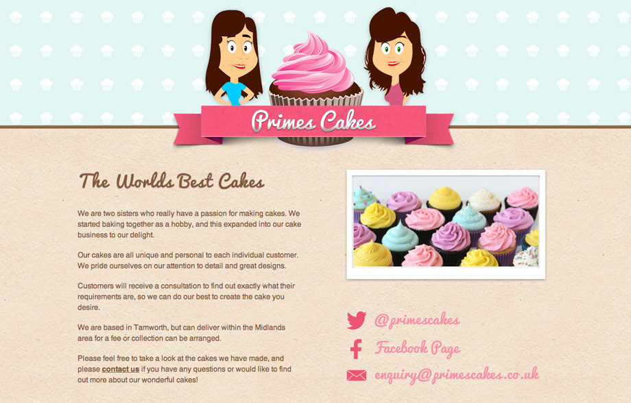 PrimesCakes - MicroSite website development, CSS3, HTML5, graphic design