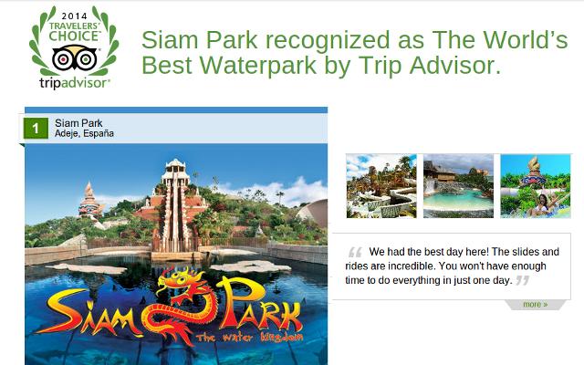 Siam Park Tenerife TripAdvisor Award 2014