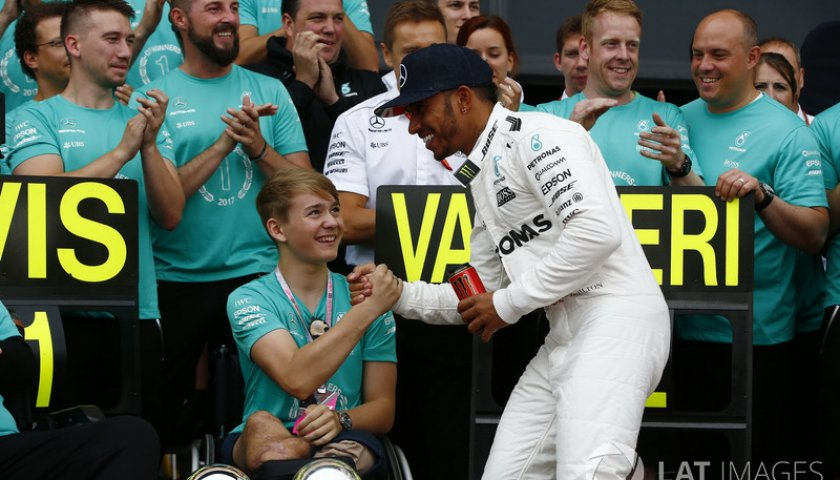 F1 British Gp 2017 Race Winner Lewis Hamilton Mercedes Amg F1 Celebrates With Billy Monger