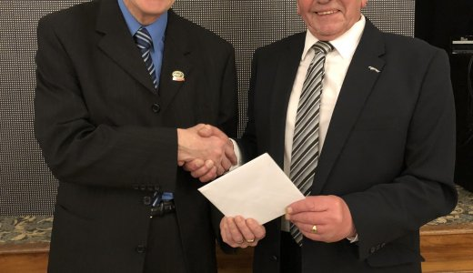 Staffordshire North 2018 Christmas Presentation To Brian Pye From Mike Beirne Left