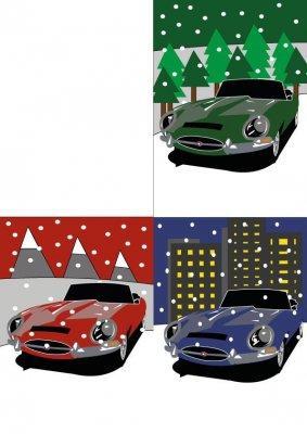 4 E Type Christmas Cards 595X842