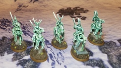 the 1st 5 of 10 planned converted Hexwraiths. This is for my Bretonnian themed Death army (Mousillon) with bits from various kits. I'm pretty happy with them.