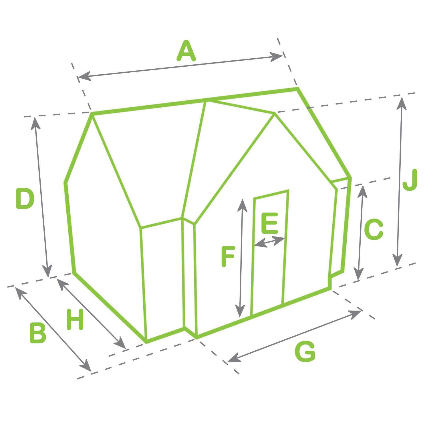 Greenhouse dimensions diagram with porch