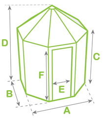 Octagonal greenhouse dimensions diagram