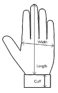 Size illustration for Ladies' Sheepskin Gloves