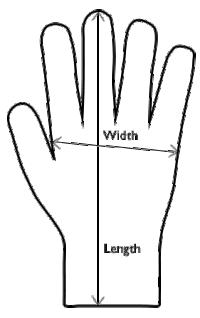 Size illustration for Mens' Sheepskin Gloves