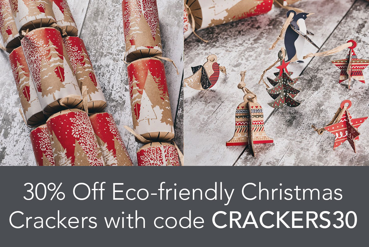 30% off Eco-friendly Christmas Crackers with promo code CRACKERS30