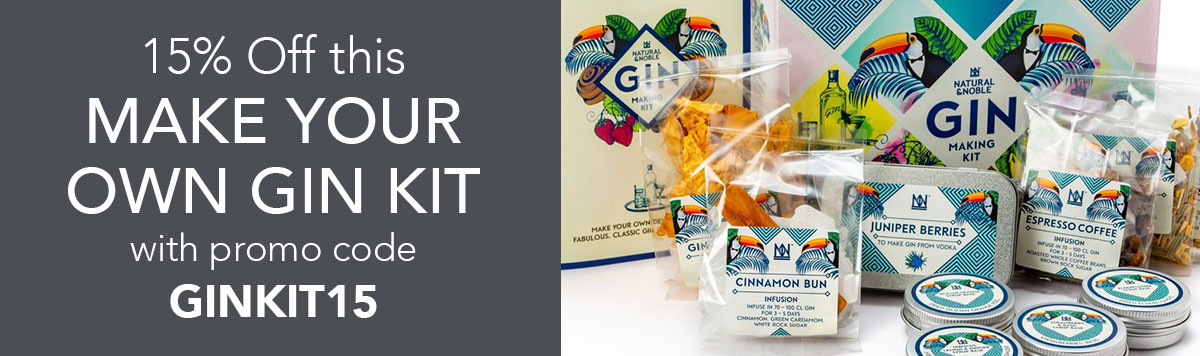 15% off this Make Your Own Gin Kit with promo code GINKIT15