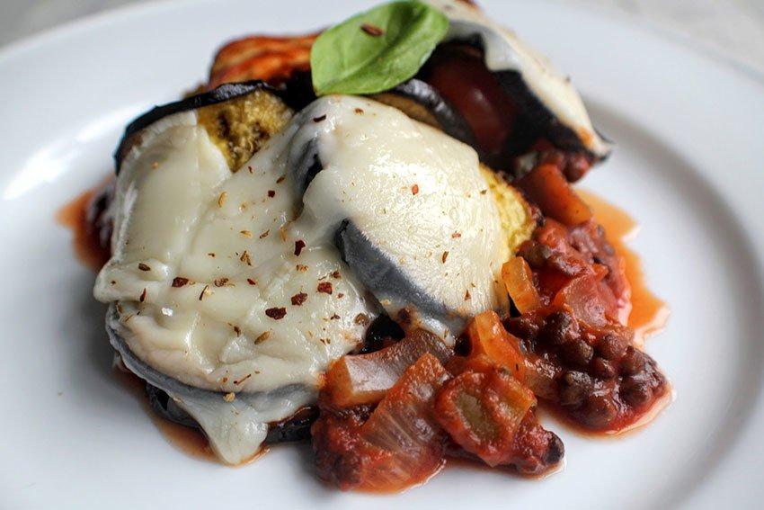 Aubergine, Lentil & Vegan Mozzarella Bake