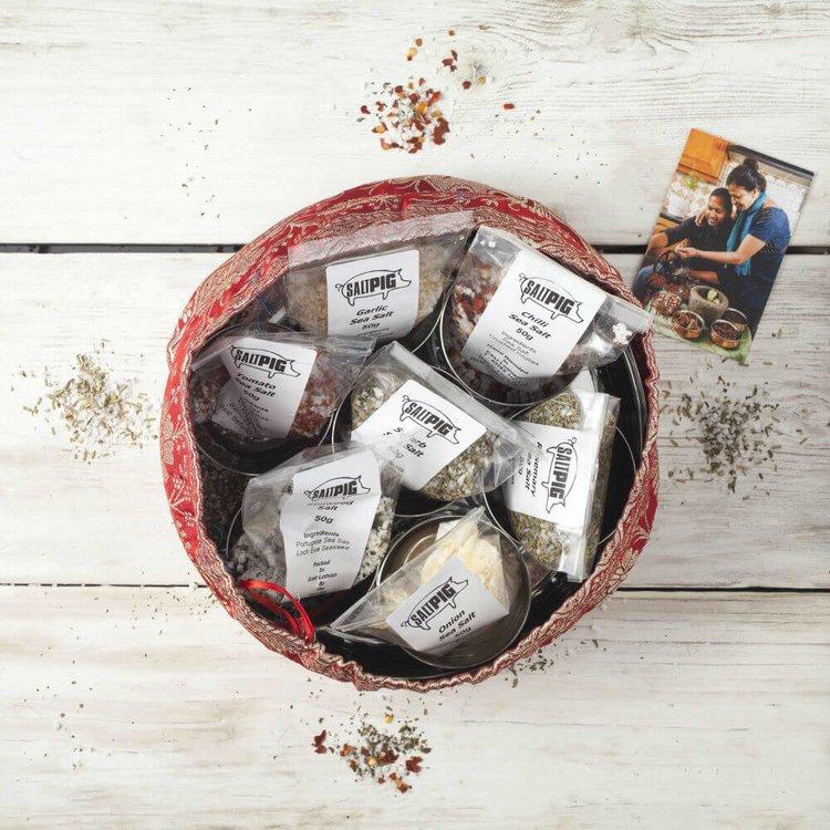 Gourmet Salts Gift Set - Salt Pigs 7 Flavours Collection In Handmade Silk Sari Wrap