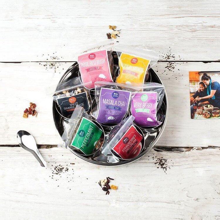 7 Loose Leaf Tea Gift Set Tin with Silk Sari Wrap & Tea Diffuser