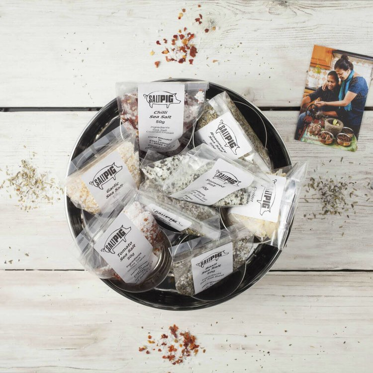 Gourmet Salts Gift Set - Salt Pigs 7 Flavours Collection In Stainless Steel Storage Tin