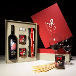 Tuscan Wild Boar Ragu, Fettucce Pasta di Gragnano & Brunello di Montalcino Red Wine Meal Gift Set