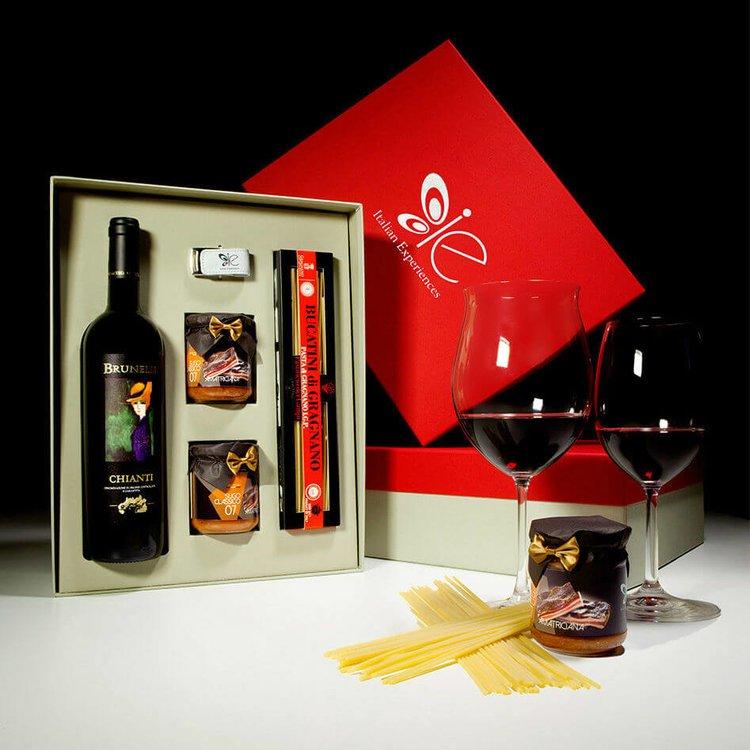 Italian Amatriciana Sauce, Bucatini Pasta di Gragnano I.G.P & Chianti Red Wine Meal Gift Set
