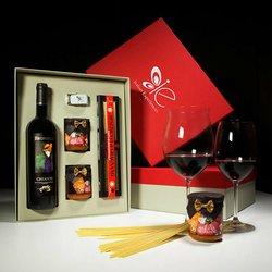 Italian Bolognese Ragu, Fettucce Pasta di Gragnano I.G.P & Chianti Red Wine Meal Gift Set
