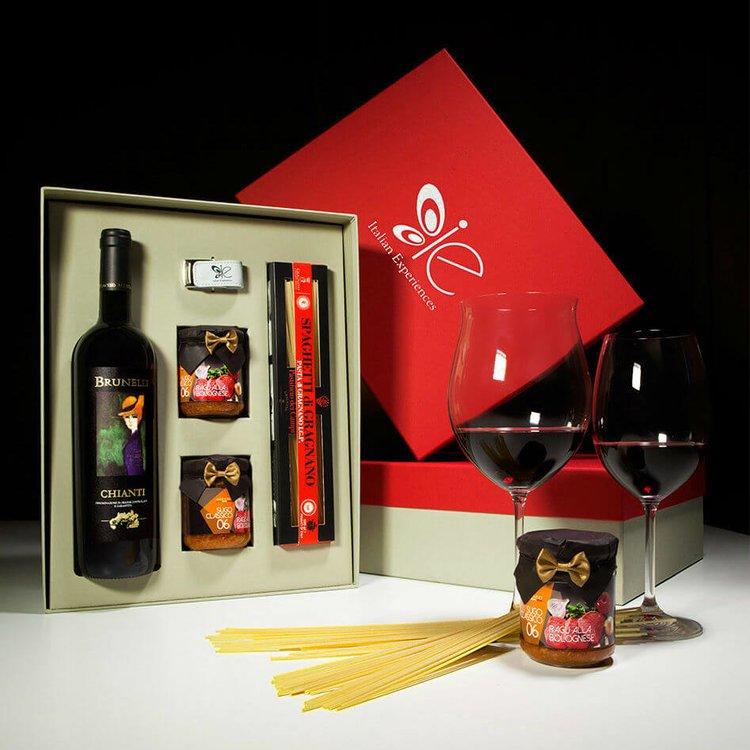 Italian Spaghetti Bolognese Ragu with Pasta di Gragnano I.G.P & Chianti Red Wine Meal Gift Set