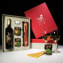Italian Basil Pesto with Linguine Pasta di Gragnano I.G.P & Vermentino White Wine Meal Gift Set