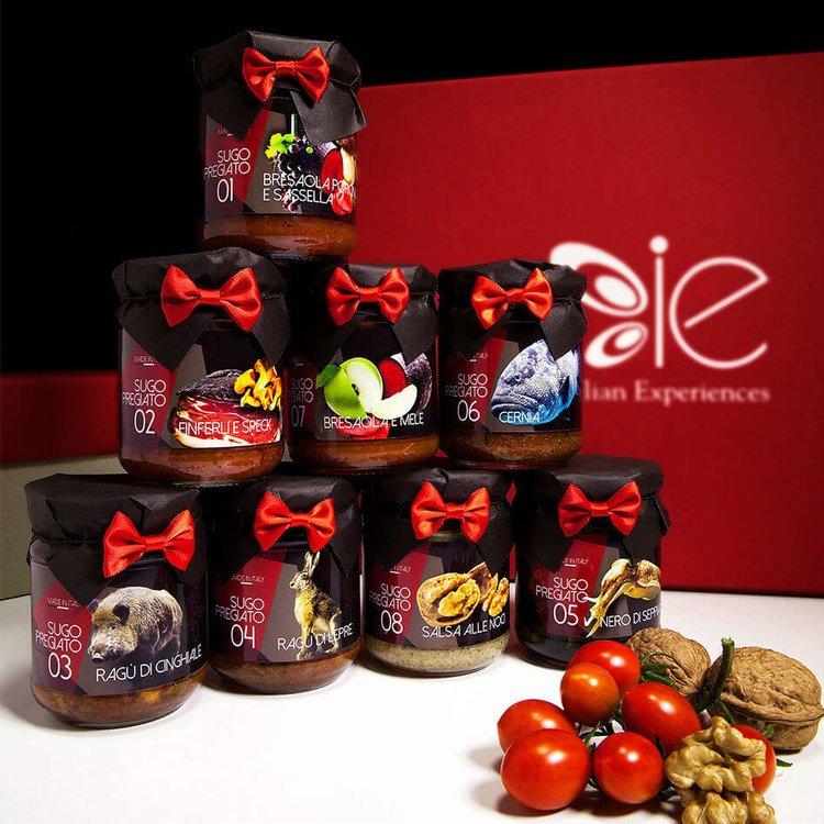 8 Special Italian Sauces Gift Selection (Inc. Finferli Mushroom & Speck, Hare Ragu & Grouper Sauce)