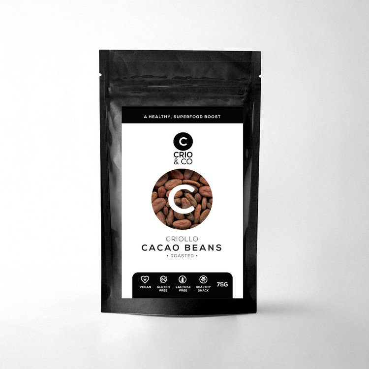 Roasted Criollo Cacao Beans 'Crio Boosters' Snack Pouch 75g