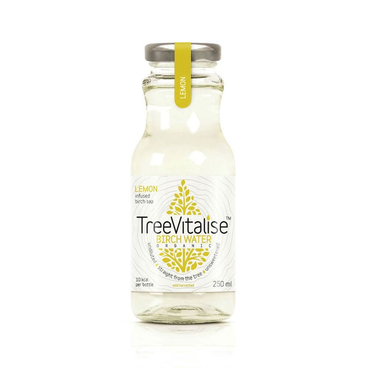 15 x Lemon Organic Birch Water 250ml by TreeVitalise (Tree Sap Soft Drink - Source of Manganese)