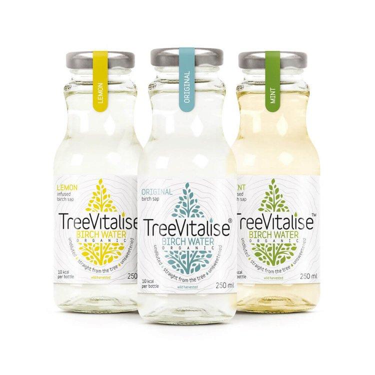 15 x Mixed Case Organic Birch Water 250ml by TreeVitalise (Original, Lemon, Mint - 5 of each)