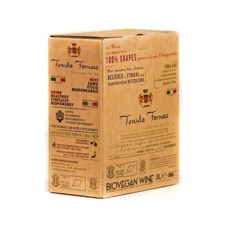 Organic Fine Italian Red Vegan Wine 3 Litres Box (= 4 Bottles) 12.5% Vol. (Sulphite Free, Natural)