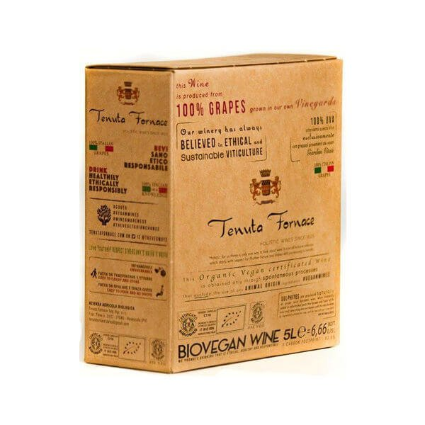 Organic Fine Italian White Vegan Wine 5 Litres Box (= 6.7 Bottles) 12.5% Vol. (Sulphite Free, Natural)