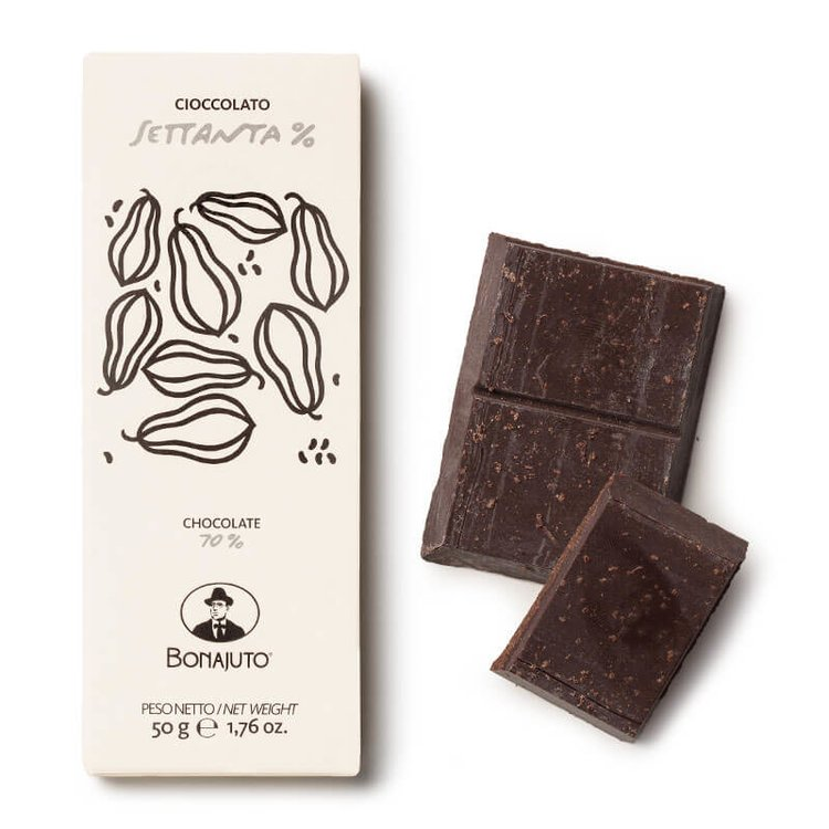 2 x 70% Pure Dark Chocolate 50g By Bonajuto From Modica, Italy (Naturally Vegan)