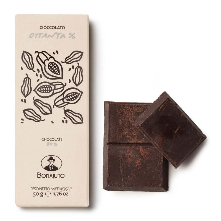 2 x 80% Pure Dark Chocolate 50g By Bonajuto From Modica, Italy (Naturally Vegan)
