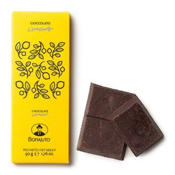 Pure Dark Chocolate with Lemon 2 x 50g Bonajuto Packaging and Unwrapped