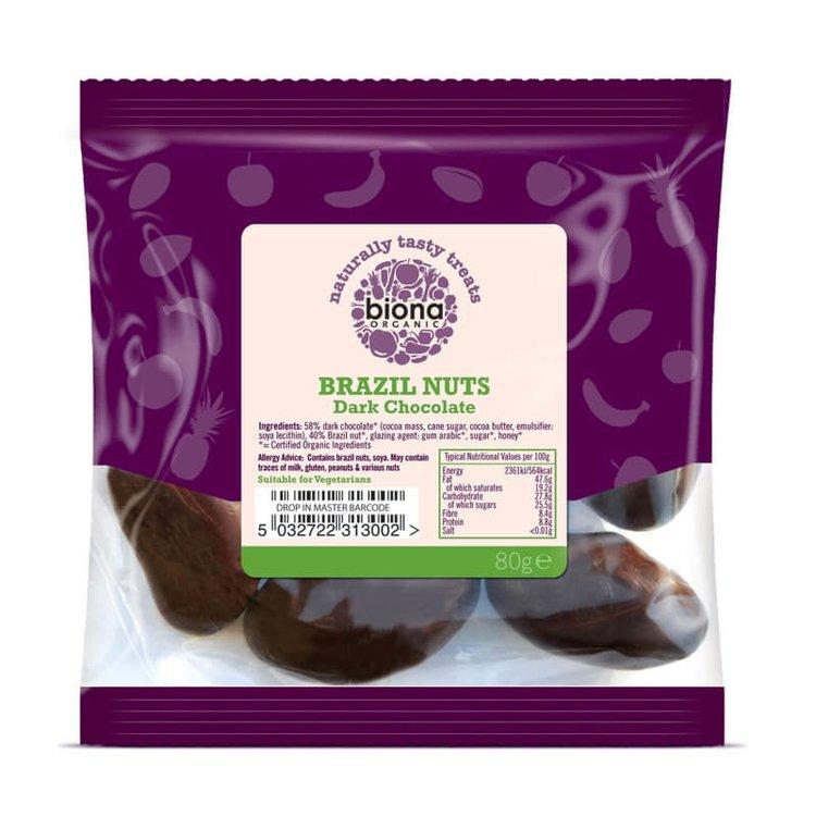 Organic Dark Chocolate Rainforest Brazil Nuts 80g