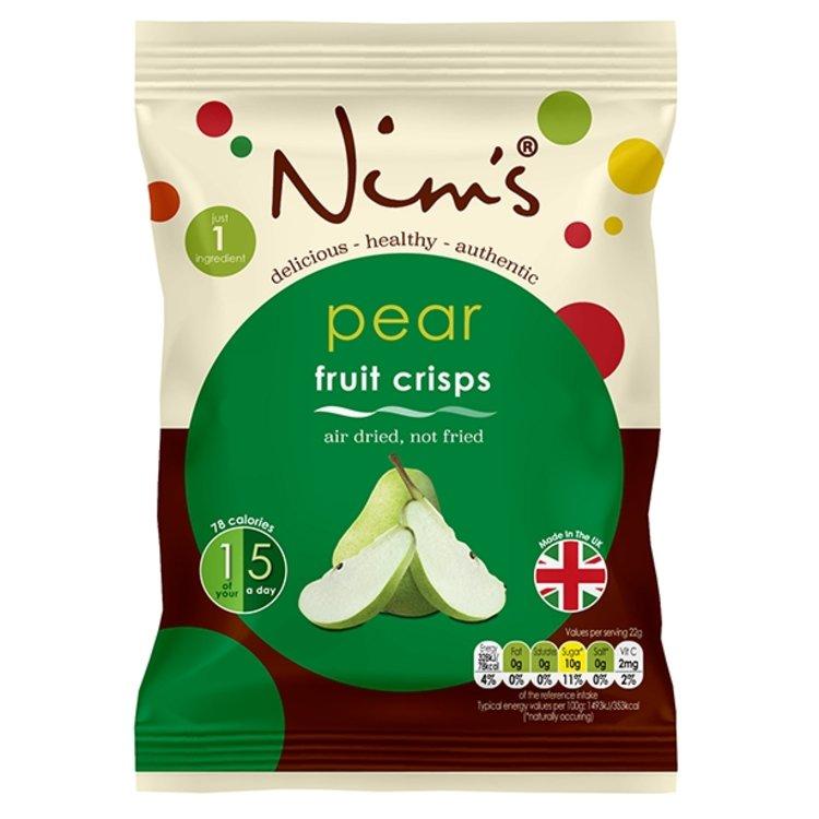 12 x Air-Dried Pear Fruit Crisps by Nim's 22g