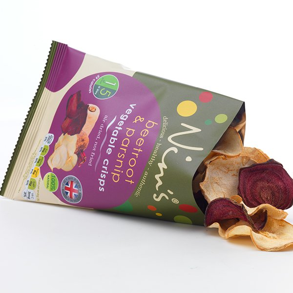 12 x Air-Dried Beetroot & Parsnip Vegetable Crisps by Nim's 18g