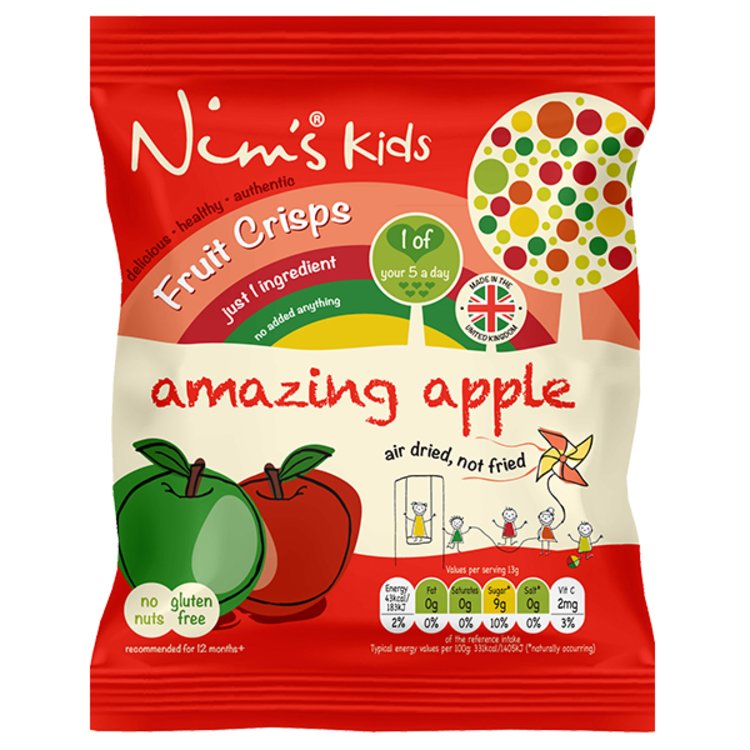 15 x Kids Air-Dried Apple Fruit Crisps by Nim's 13g