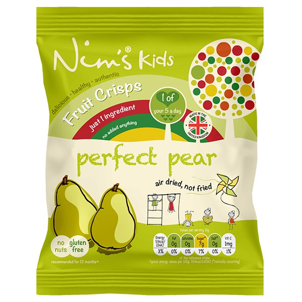 15 x Kids Air-Dried Pear Fruit Crisps by Nim's 15g
