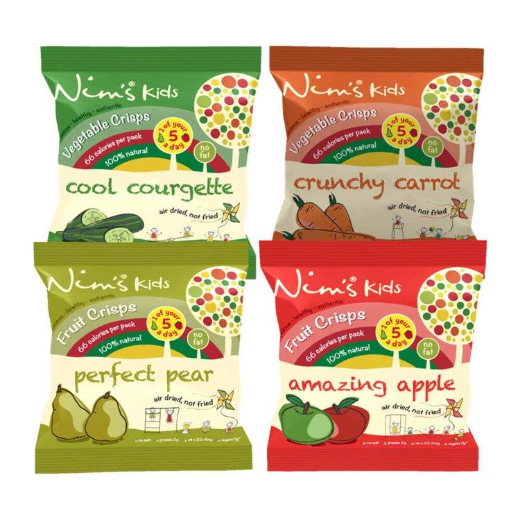 28 Bags - Kids Ultimate Air-Dried Fruit & Vegetable Crisps by Nim's