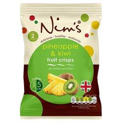 12 x Air-Dried Pineapple & Kiwi Fruit Crisps by Nim's 22g