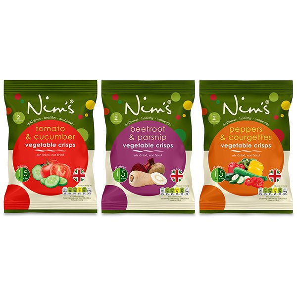 12 x Air-Dried Savoury Vegetable Crisps Bags by Nim's (Inc. Beetroot, Peppers & Tomato)