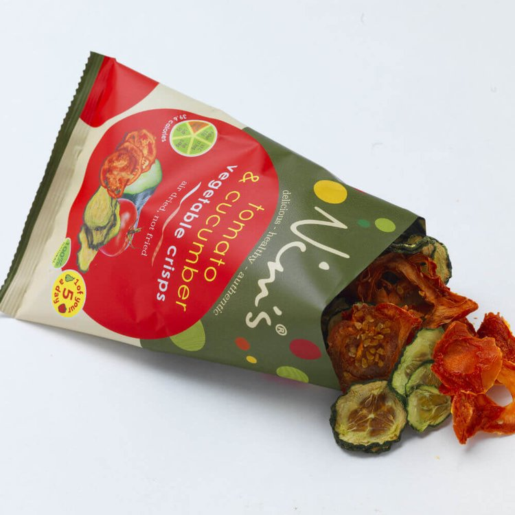 12 x Air-Dried Tomato & Cucumber Fruit Crisps by Nim's 14g