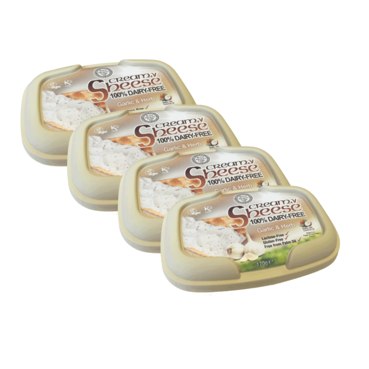 4 x Garlic & Herb Style Creamy 'Sheese' Spread 170g by Bute Island (100% Dairy Free)