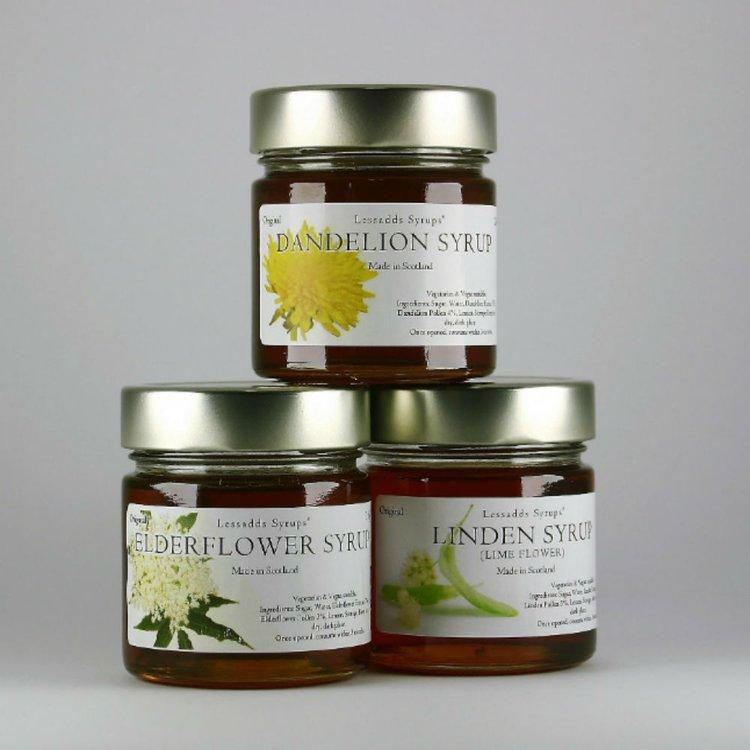 Natural Syrups Gift Set Inc. Dandelion, Elderflower & Linden (Lime Flower) Syrups 245g