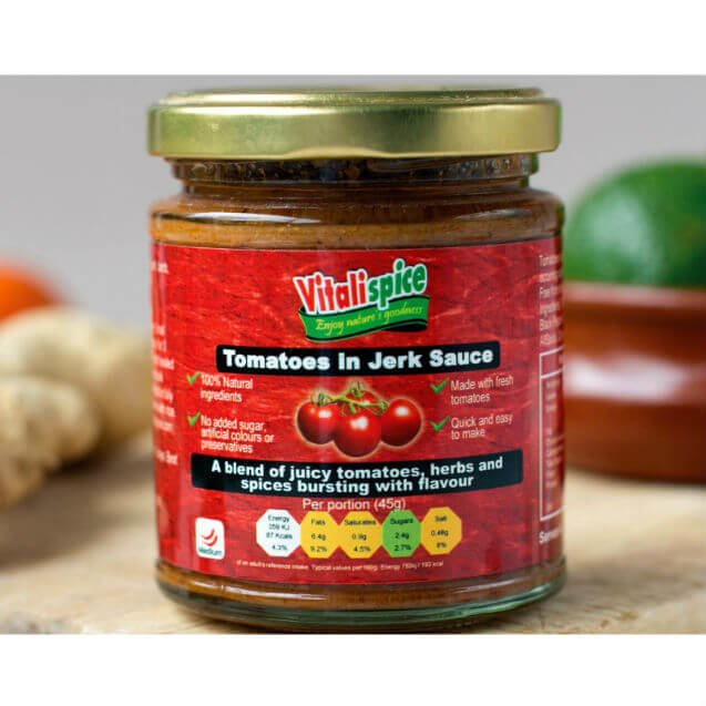 4 x Tomatoes in Medium Spice Jerk Sauce 180g (for Meats & Fish)