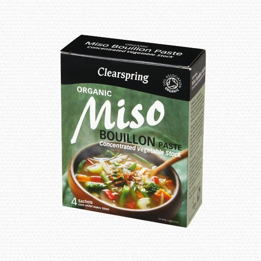 Organic Miso Bouillon Paste - Concentrated Vegetable Stock - 4 x 28g