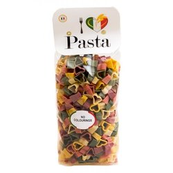 Five Colour Heart Shaped Pasta 500g (Coloured with Natural Turmeric, Beetroot & Spinach)