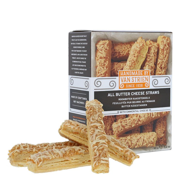 2 x Butter Cheese Straws 90g - Baked Puff Pastry Savoury Biscuits with Emmental Cheese