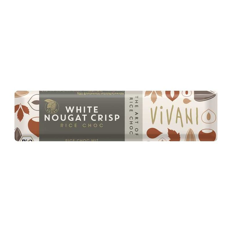 Organic Nougat Crisp White Rice Chocolate Bar 35g
