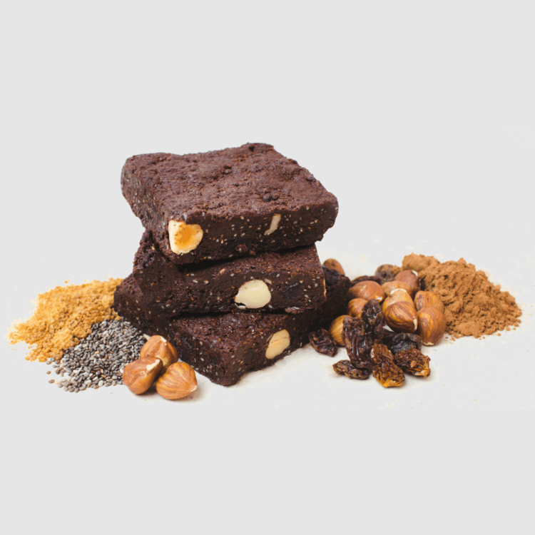 6 x Organic Chocolate, Hazelnut & Raisin Brownies 65g by Tyler & Hall