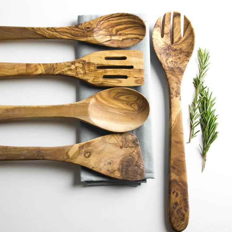 5 Piece Olive Wood Kitchen Cutlery Utensil Set