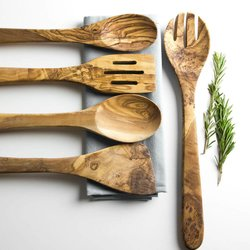 5 Piece Olive Wood Kitchen Cutlery Utensil Set