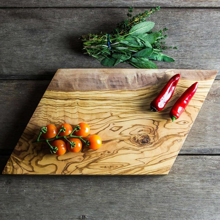 Geometric Olive Wood Chopping/Cheese Board (30cm x 20cm x 2cm)
